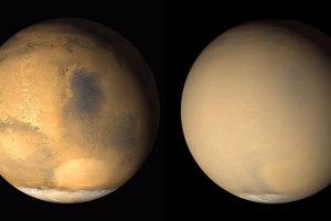 Na Marse sú často globálne prachové búrky. Prachové mračno zahalilo celú planétu v roku 2001 (vpravo). Medzi obrázkami je rozdiel jeden mesiac.