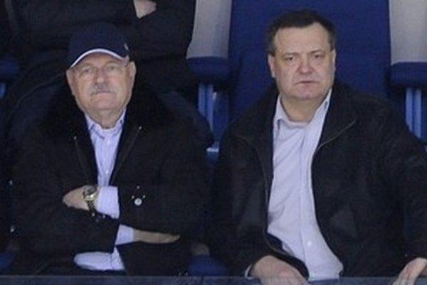Ivan Gašparovič a Dárius Rusnák  na hokeji.
