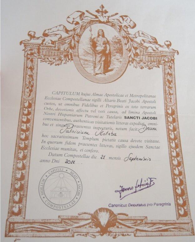 Pútnici po absolvovaní cestu dostanú certifikát písaný v latinčine.
