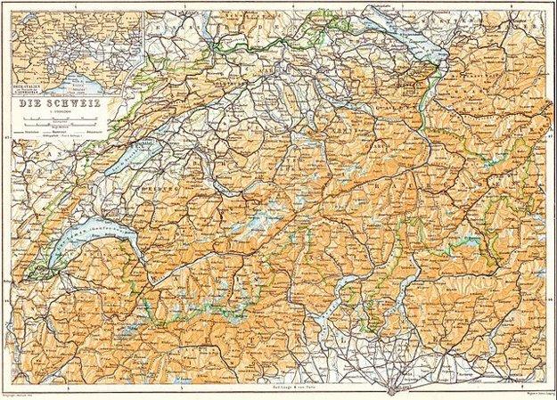 Mapa Švajčiarska vo vydaní turistického sprievodcu z roku 1913.