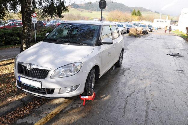 Vodič zaparkoval na tráve, žltej čiare, pod značkou zákaz zastavenia astátia