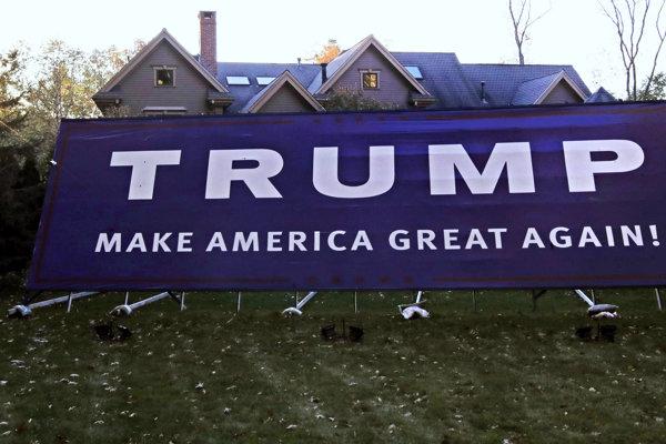 Plagát priaznivcov Trumpa.