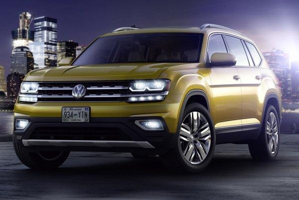 Športovo-úžitkový Volkswagen Atlas. Atlas, ktorý sa bude vyrábať v USA, je dlhý vyše päť metrov, je zatiaľ určený len pre americký trh, ale pravdepodobne sa neskôr dostane aj do iných krajín.