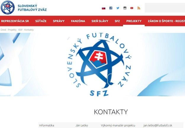 Ján Letko je oficiálne uvedený na stránkach SFZ s emailovou adresou SFZ.