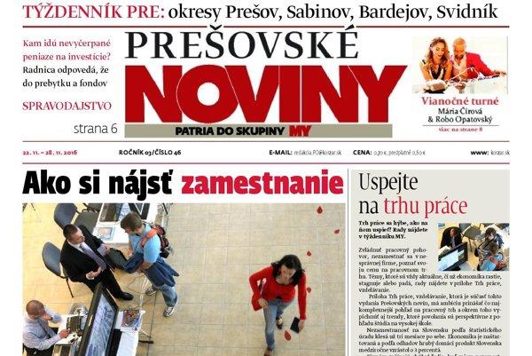 Titulná strana týždenníka Prešovské noviny č. 46/2016
