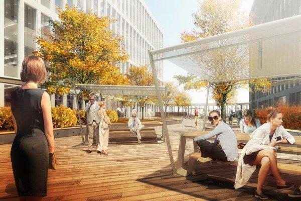 Na streche bude terasa so zeleňou, ktorá nájomcovia budú môcť využívať na neformálne stretnutia či relax, píše Penta.