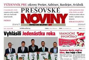 Titulná strana týždenníka Prešovské noviny č. 49/2016