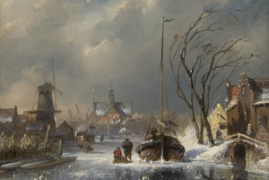 Charles Leickert (1816 - 1907), A town in winter with figures on a frozen river.