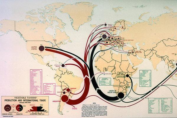 Produkcia a medzinárodný obchod v roku 1950.