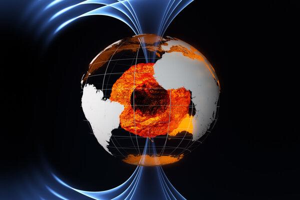 Ilustračná fotografia. Za pohyb severného magnetického pólu môžu podľa novej štúdie dve škvrny magnetického toku pod Kanadou a Sibírou.
