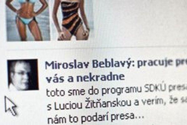 Beblavý je líder, v reklamnom stĺpci sa tlačia Lucia a Jana Žitňanské.