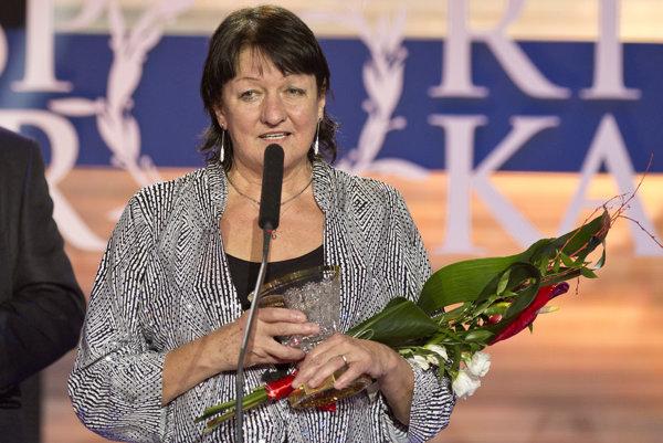 Športová legenda Eva Šuranová-Kucmanová počas vyhlásenia výsledkov ankety Športovec roka 2014 v Bratislave 22. decembra 2014.