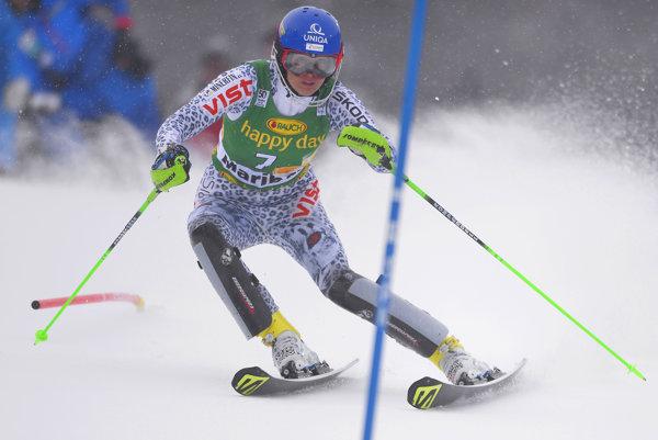 Slovenská lyžiarka Veronika Velez-Zuzulová na trati 1. kola slalomu Svetového pohára žien v alpskom lyžovaní v slovinskom Maribore, ktoré po chybe nedokončila.
