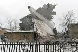 Trosky lietadla dopadli na domy.