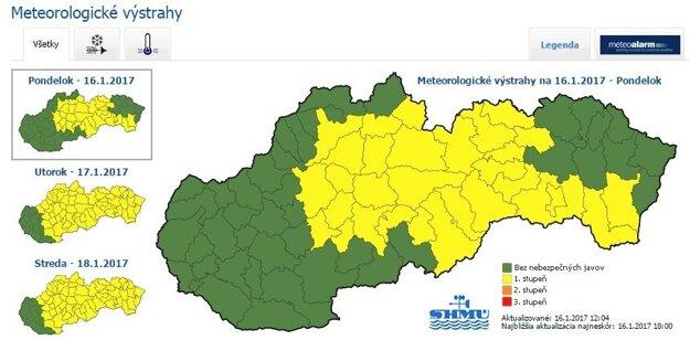 Meteorologické výstrahy podľa SHMU.sk