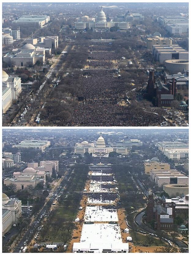 Kombo snímka z inaugurácie Baracka Obamu a Donalda Trumpa. (dole).