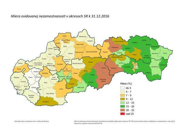 Miera evidovanej nezamestnanosti v okresoch ku koncu decembra 2016.