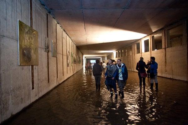 Obrazy výtvarníka Andreja Dúbravského si prezerali záujemcovia vnedokončenom zaplavenom depe metra vPetržalke obutí vgumákoch.