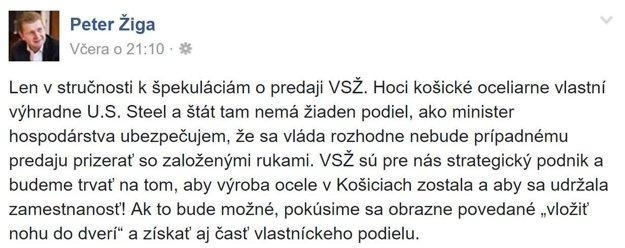 facebookový status Petra Žigu k U. S. Steelu