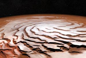 Počítačom generovaný pohľad z perspektívy na severný pól Marsu. Obrázok je zložený z viacerých záberov sondy Mars Express.