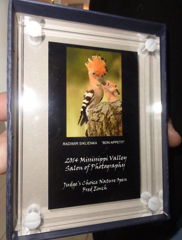 Jedna z cien, ktorú si Radimír Siklienka v roku 2014 priniesol z Ameriky. Je do nej zakomponovaná jeho ocenená fotografia dudkov.