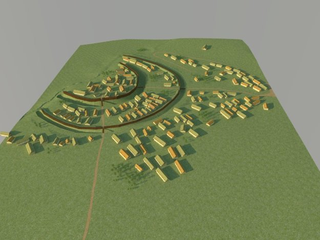 Model (rekonštrukcia) opevneného sídliska Vráble-Fidvár v období únětickej kultúry (2100 – 1800 pred n. l.).