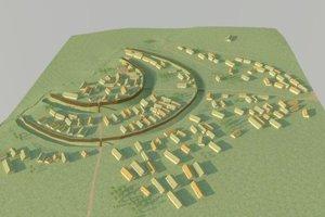 Model (rekonštrukcia) opevneného sídliska Vráble - Fidvár v období únětickej kultúry (2100 – 1800 pred n. l.).