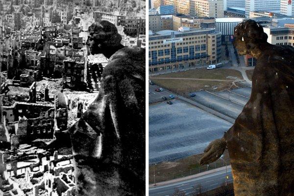 Pieskovcová socha sa pozerá z veže drážďanskej radnice na zbombardované mesto (vľavo) v roku 1945. Fotografia vľavo od Richarda Petera je dodnes symbolom skazy, ktorú mesto zažilo na sklonku druhej svetovej vojny.