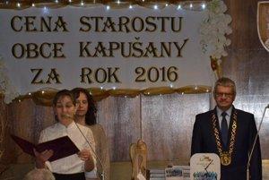 Počas odovzdávania Ceny starostu obce Kapušany za rok 2016.