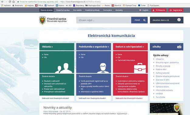 Originálny web Finančnej správy