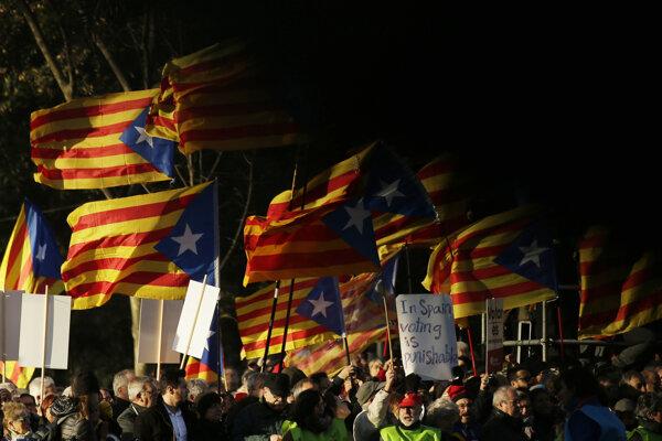 Demonštrácia za suverénne Katalánsko.