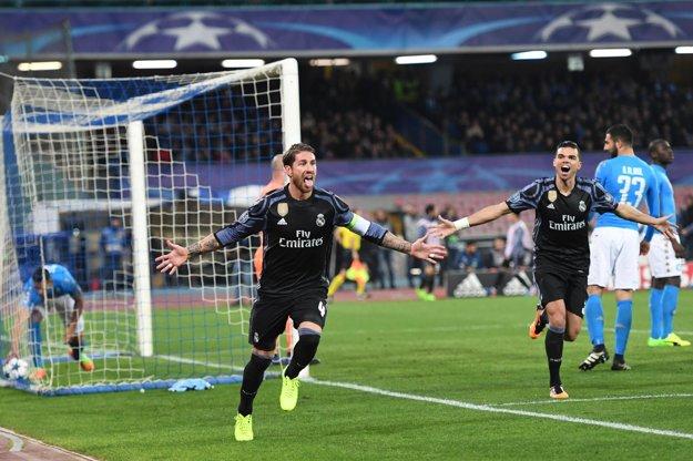 Sergio Ramos sa raduje po góle do siete Neapola v zápase Ligy majstrov.