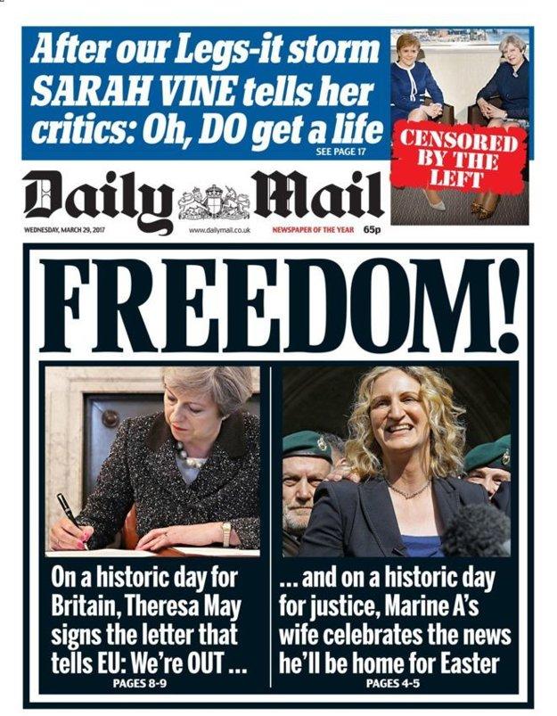 Sloboda! hlása bulvárny denník Daily Mail a spája Mayovej podpis s prepustením britského vojaka, ktorého odsúdili za vraždu zraneného bojovníka Talibanu.