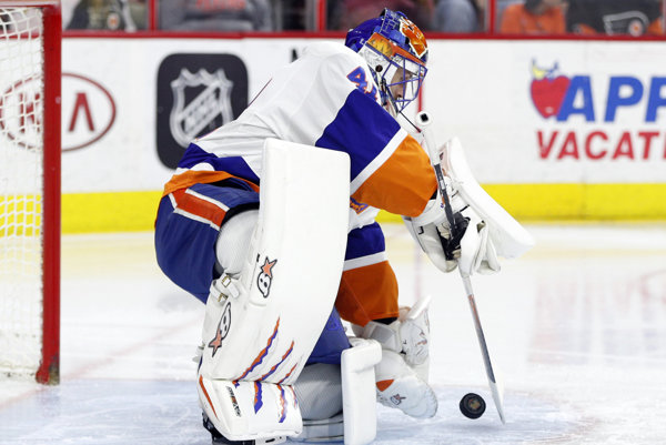 Jaroslav Halák v drese New York Islanders.