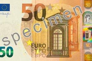 Lícna strana bankovky 50 € série Európa.