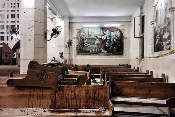 Koptský kostol po útoku v egyptskom meste Tanta.