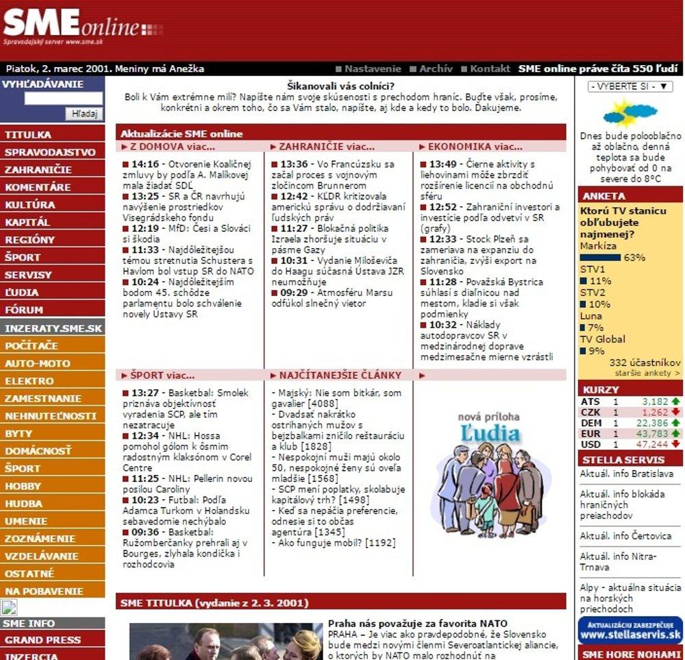 Stránka SME.sk v roku 2001