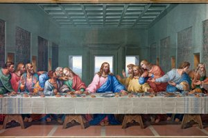 Kópia Leonardovej Poslendej večere na mozaike vo viedenskom Minoritskom kostole.