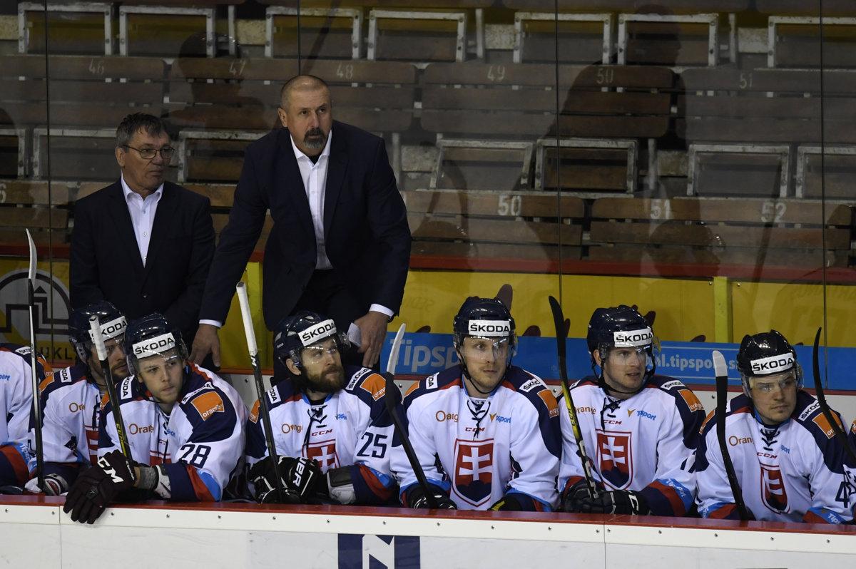 73e780c5154e9 Slovenská striedačka s trénerom Zdenom Cígerom (vpravo hore) a asistentom  Miroslavom Milošovičom (vľavo