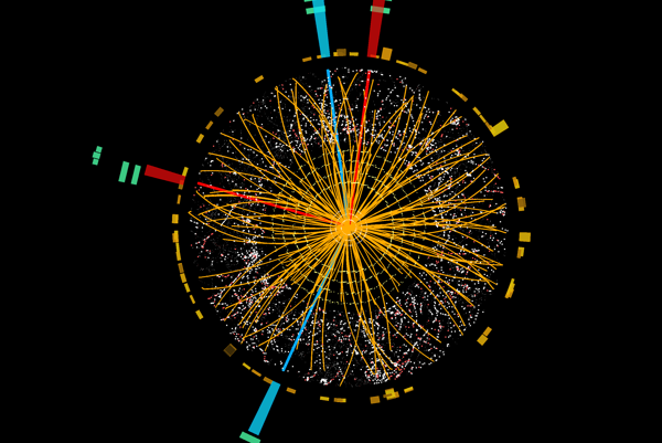 Vizualizácia zrážky v experimente ATLAS.