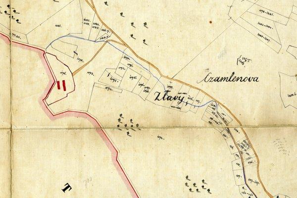 Katastrálna mapa obce Závada s výrezom samoty Zlavy, kde bývala rodina Marnegg. Mapa je z druhej polovice 19. storočia.