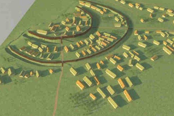Model opevneného sídliska zo staršej bronzovej doby vo Vrábľoch