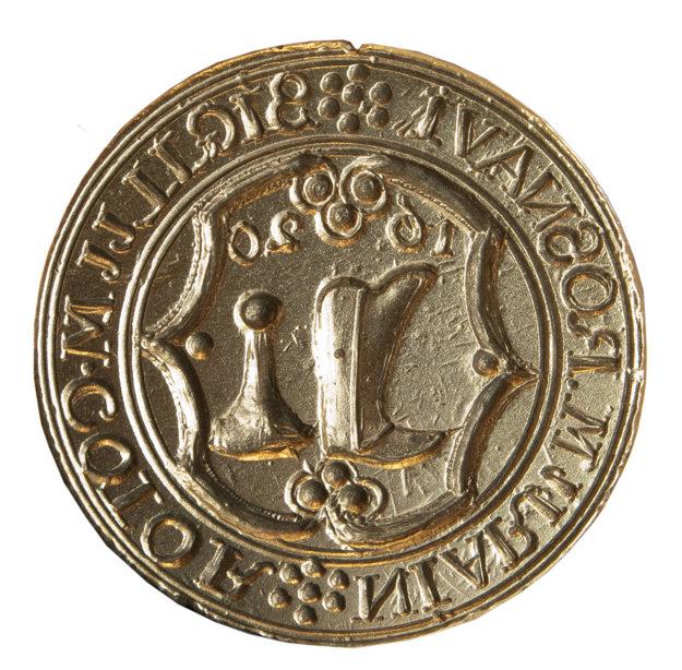 Pečať čižmárov zo17. storočia. Pečatidlo rožňavského cechu čižmárov zroku 1620.