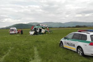 Miesto pádu vrtuľníka.