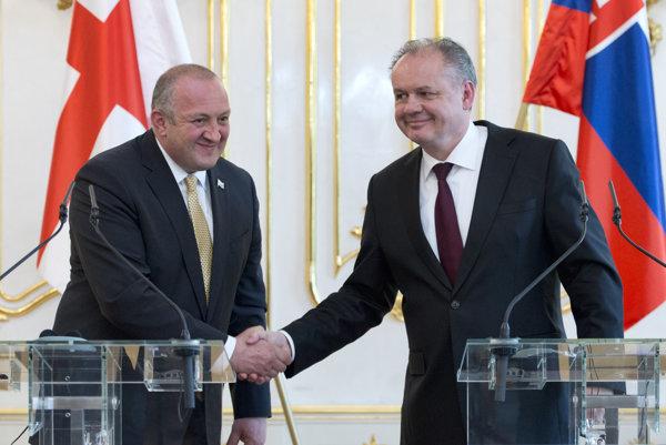 Prezident Gruzínska Giorgi Margvelašvili a Andrej Kiska.