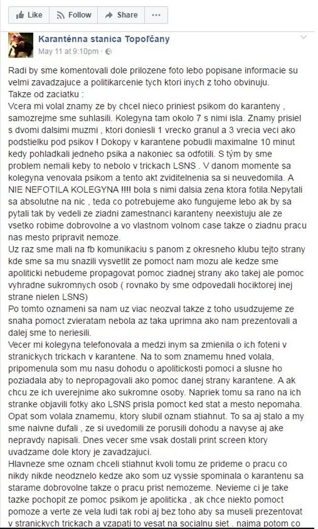 Karanténna stanica Topoľčany reaguje na hoax ĽSNS.