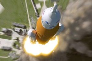 Vizualizácia rakety SLS.