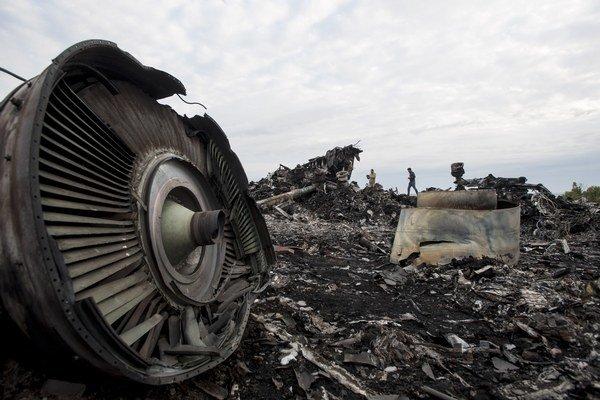 Trosky zostreleného malajzijského lietadla.