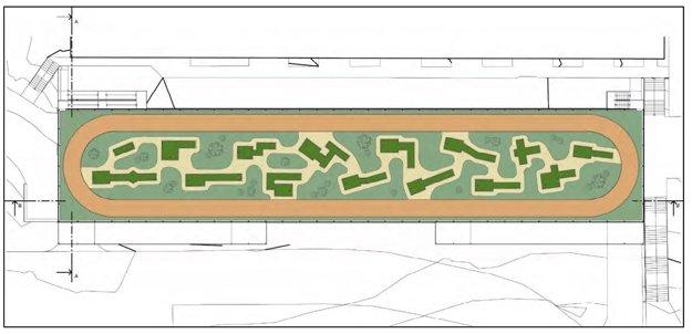 Strecha parkovacieho domu so zeleňou, projekt tu počíta s bežeckou dráhou a dráhami na minigolf.