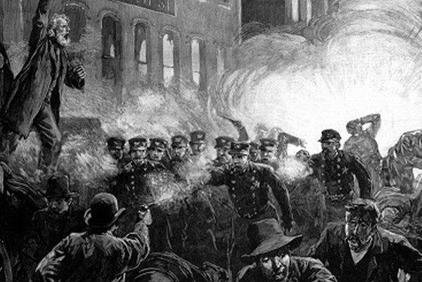 4. máj 1886 na dobovej rytine.